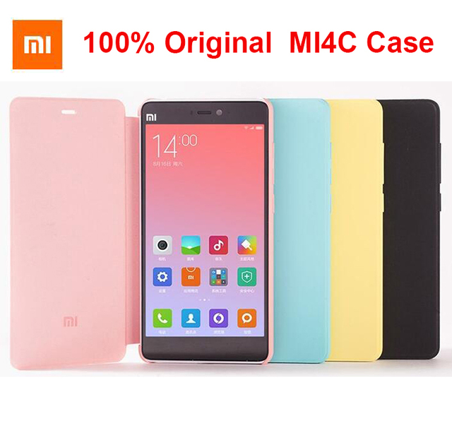 1fc9d2c3c5b 100% Original Xiaomi Mi4C Case Smart Flip PU Leather Hybrid Cover Case with  wake up Function for Mi 4C in Multi Colors