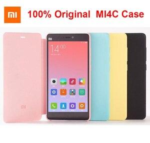 Image 1 - 100% Оригинальный Xiaomi Mi4C Чехол Smart Flip PU кожаный гибридный чехол с функцией пробуждения для Mi 4C в нескольких цветах
