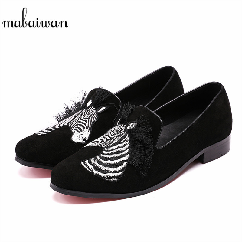 Mabaiwan Fashion Black Men Shoes Loafers Tassel Embroidered Moccasins Slippers Flats Slip On Wedding Casual Shoes Men's Dress 2017 autumn fashion men pu shoes slip on black shoes casual loafers mens moccasins soft shoes male walking flats pu footwear