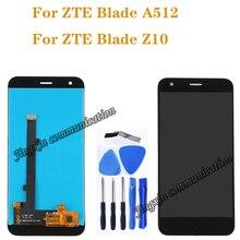 新 5.2 Zte ブレード A512 フル液晶 + タッチスクリーンデジタイザ交換 zte Z10 ディスプレイ黒 /ホワイト