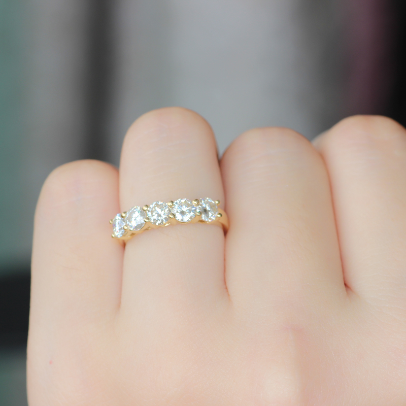 ct stackable white solid gold bands ring diamond yellow band eternity wedding