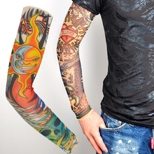 Seamless Tattoo Sleeve Summer Outdoor Printing Sun Protection Sleeve Elastic Women Men Fake Tattoo Arm Warmer Cooling Sleeves