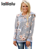 2017 Autumn Fashion Womens Hoodies Long Sleeve Sweatshirt Women Hooded Floral Print Gray Ladies Pullover Kwaii