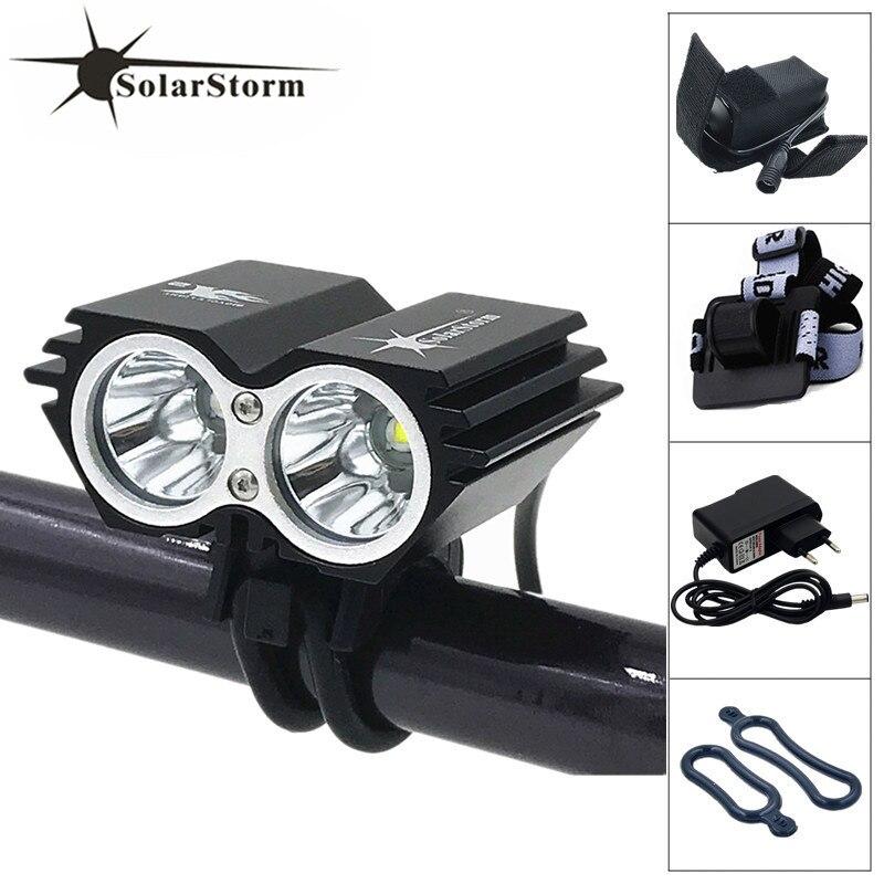 SolarStorm 2x XM-L U2 LED 5000Lm Cycling Front Bicycle Lamp Bike Light + 6400mAh Battery + Charger + Headband