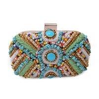Es ist Yiiya Pfau Stickerei Kupplung Hand Perlen Party Geldbeutel Ring Handtasche Hardcase Abendtasche HB016
