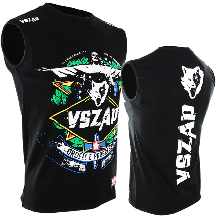 VSZAP RIO SPIRIT Combat Fitness Vest Sleeveless T-shirt MMA Thai Boxing Martial Arts Summer Men's Fight Sanda.