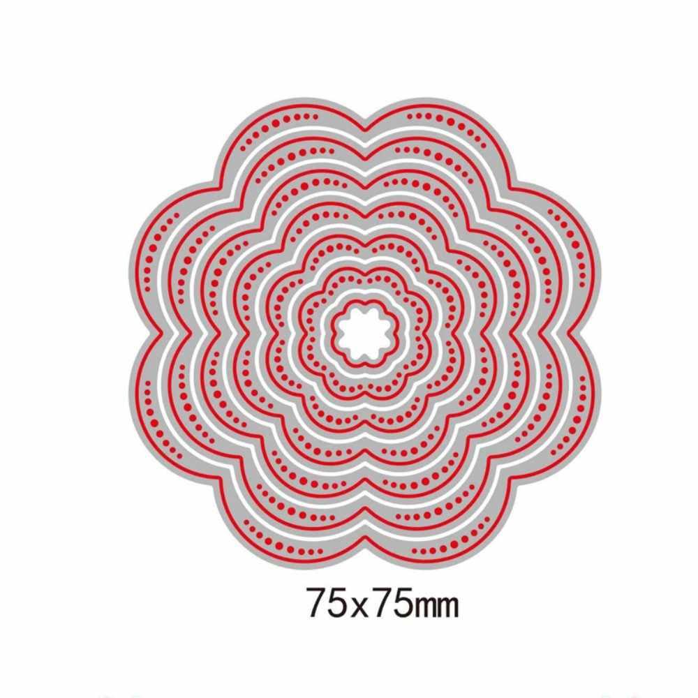 7 pçs flor de corte de metal dados cartões de aniversário estênceis decorativos carimbo dados scrapbooking gravação artesanato morrer corte