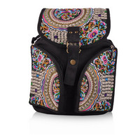 New Floral Embroidery Women's backpacks!Hot Vintage embroidered Canvas Backpack fashion Top Fashion National Cover Rucksack