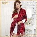 Mezcla de belleza de Color leopardo muchachas del estilo para mujer mujer grande suave larga del cuello de la bufanda caliente bufandas del abrigo del mantón