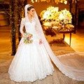 New Arrival Vestidos de Novia wedding dress Full Sleeves V-neck Court train Custom Made Bridal Gowns