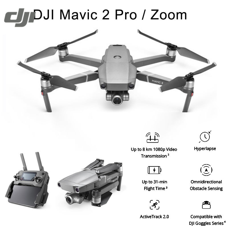 Mavic DJI 2 Pro / Zoom 8KM 1080P FPV w/ 3-Axis Gimbal Omnidirectional Obstacle 4K Camera RC Drone 31mins Flight Time