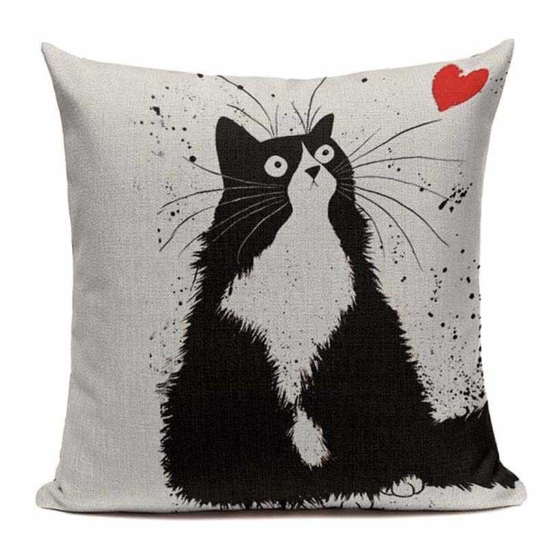 Algodão macio preto e branco gato família gato dos desenhos animados conjunto de cama 45cm x 45cm quadrado crianças aniversário decorativo impresso travesseiro caso