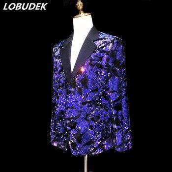 Glittering Sequins Men's Blazers Fashion Slim Coat Nightclub Singer Concert High-end Costume Bar Party Host Stage Show Jackets