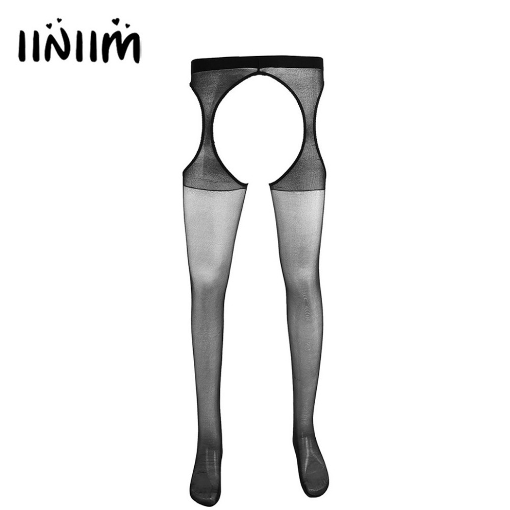 Iiniim 1 Pair Mens Hollow Out Tights Polyamide Suspender Stretchy Pantyhose Leggings Gay Men Comfortable Hollow-out Pantyhose