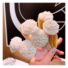 Pearl Headband for Women Hair Accessories Knot Korean Style Band Bohemian Hairband Knotted Big Bow Head