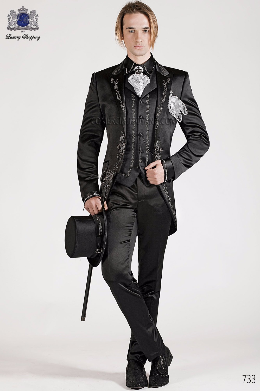 2017 Latest Coat Pant Designs Black Embroidery Satin Men Suit Italian Prom Suits Slim Fit 3 Piece Tuxedo Custom Terno Masculino