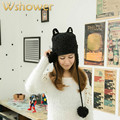 Girls Cute Warm Animal Cat Ears Wool Knit Winter EarFlap Hat Cap Beanie Ski With two pom pom