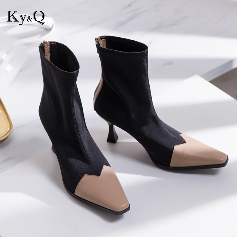 NEW brands designer women color matching boots genuine cow leather stretch boots pointed toe shoes women zipper boots 35-42NEW brands designer women color matching boots genuine cow leather stretch boots pointed toe shoes women zipper boots 35-42
