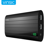 VINSIC IRON 20000mAh Smart Identification Dual USB PortPower Bank Universal Support Quick Charge Cell Phones Black