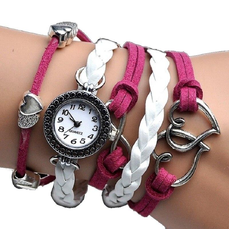 25bb8b96c028f Gnova Parcords de Platina Corações Pulseira Mulheres Relógio de Presente de  Couro Pu Camurça Strass Relógio de Pulso de Moda Relogio A728 Chasy