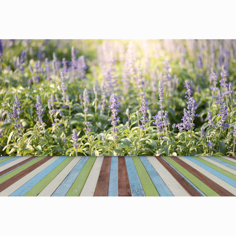 HUAYI toile de fond pour la photographie de printemps coloré en bois plancher fleurs photoshoot arrière-plan réaliste Grain frais paysage XT-4019