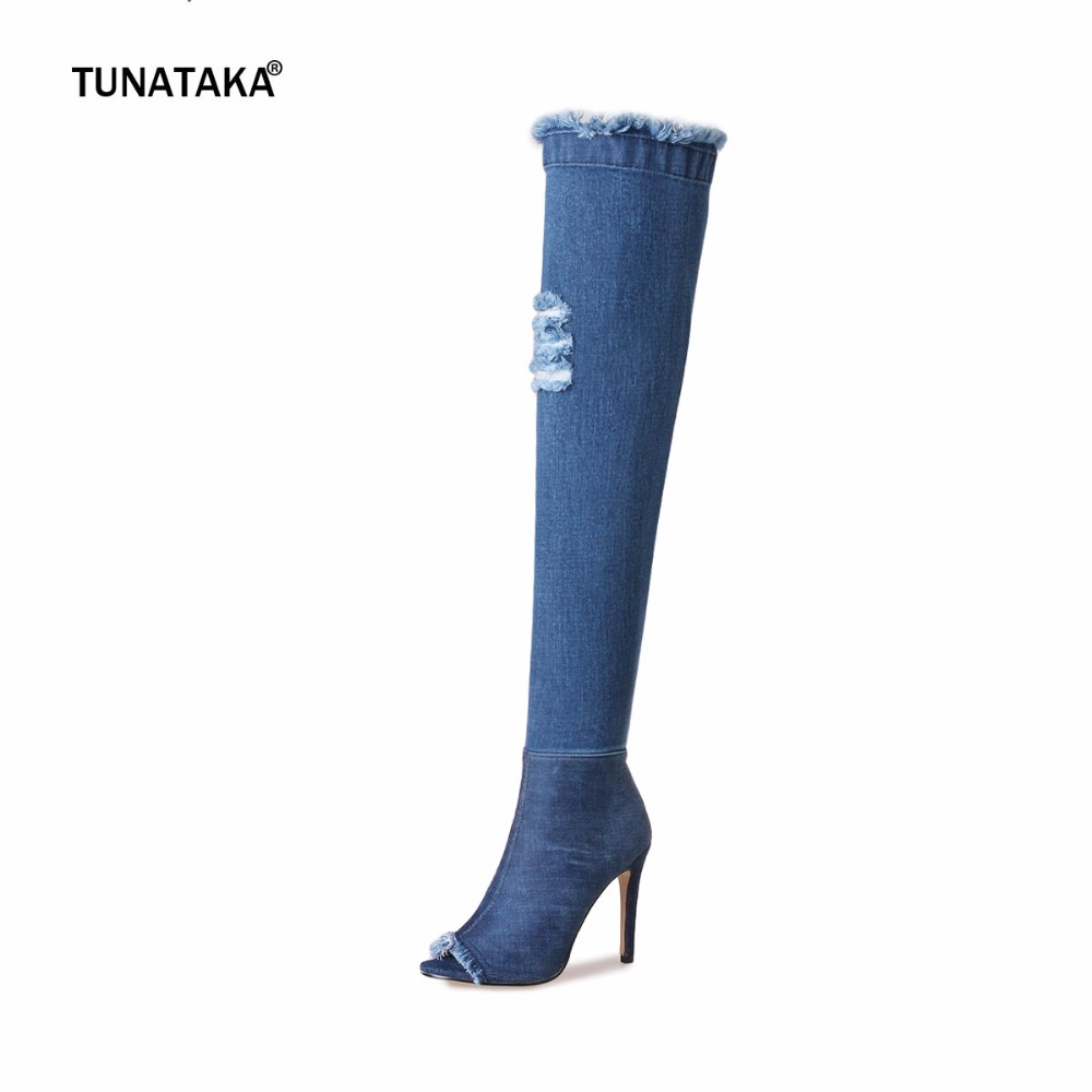 Women Blue Denim High Heel Over the Knee Boots Open Toe Summer Fashion Sexy Thigh Boots Shoes with side Zipper sexy high heel round toe fashion over the knee high martin women boots stiletto pull on platform thigh high knight bootie shoes