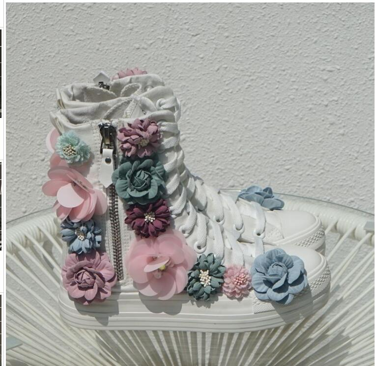 Botas Invierno Rhinestone Lateral Fondo Cremallera Grueso Blanco De Nueva Flor 2019 Tridimensional Otoño Salvajes Zapatos Lona E EwZq4Z