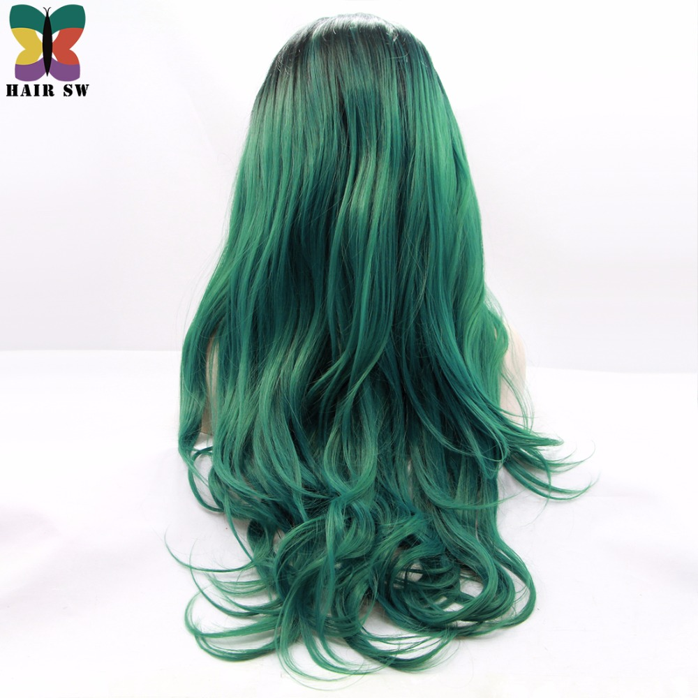 Hair Sw Long 26 Blackgreen Ombre Color Wavy Synthetic Lace Front