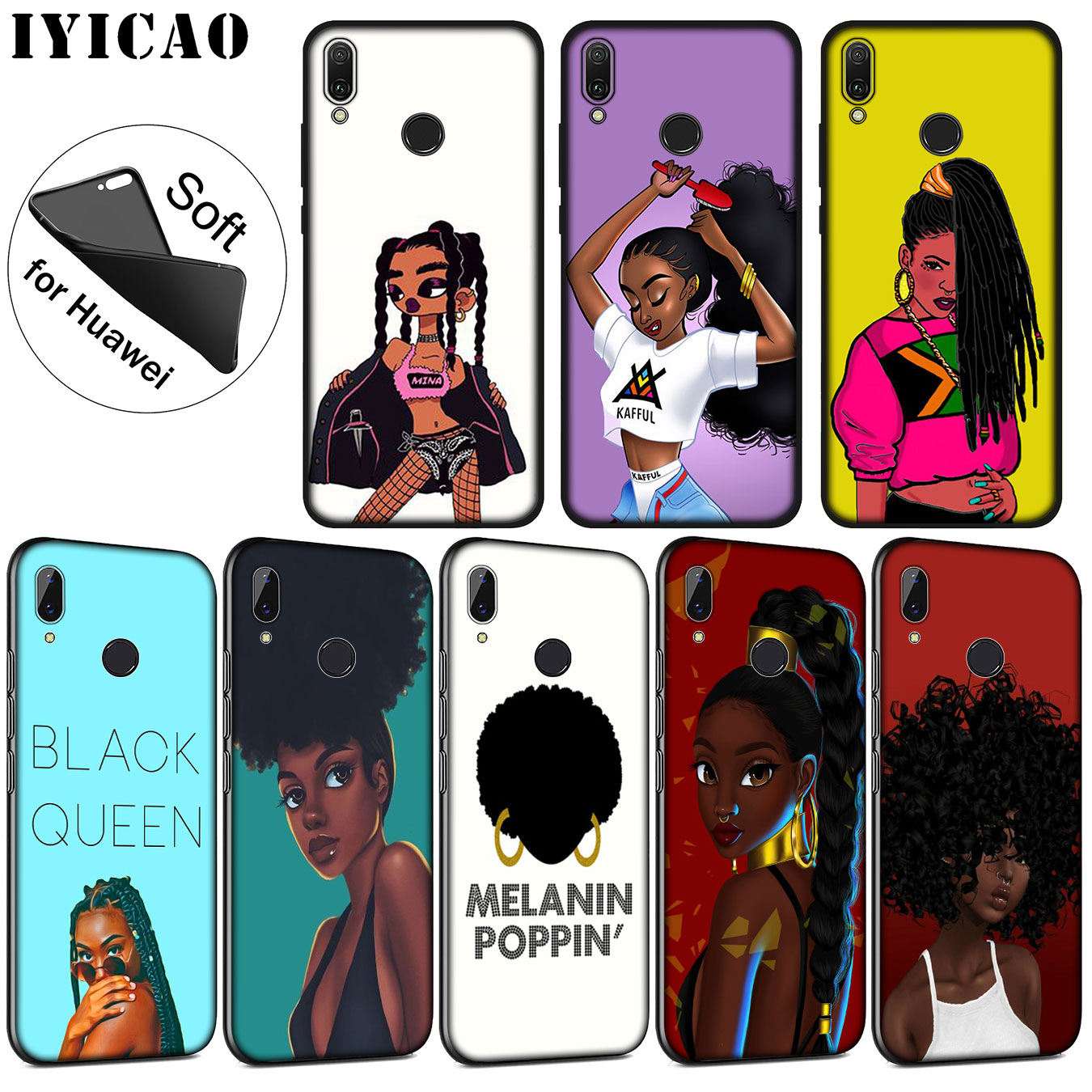 Phone Bags & Cases Charitable Iyicao New Personalized Melanin Poppin Black Girl Soft Case For Huawei P20 Pro P10 P9 P8 Lite Mini 2017 2015 P Smart 2019 Cover