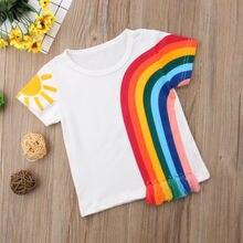 Новая повседневная детская одежда для маленьких девочек, Повседневная разноцветная футболка с радугой, хлопковая Футболка с кисточками в стиле пэчворк, топы
