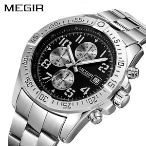 Image 2 - MEGIR Business Men Watch Luxury Brand Stainless Steel Wrist Watch Chronograph Army Military Quartz Watches Relogio Masculino