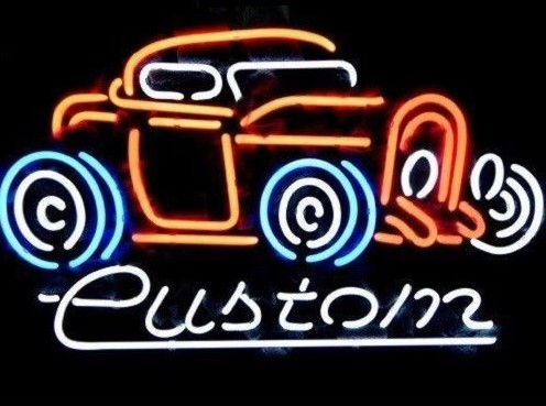 Custom Vintage Old Car Auto Glass Neon Light Sign Beer Bar image