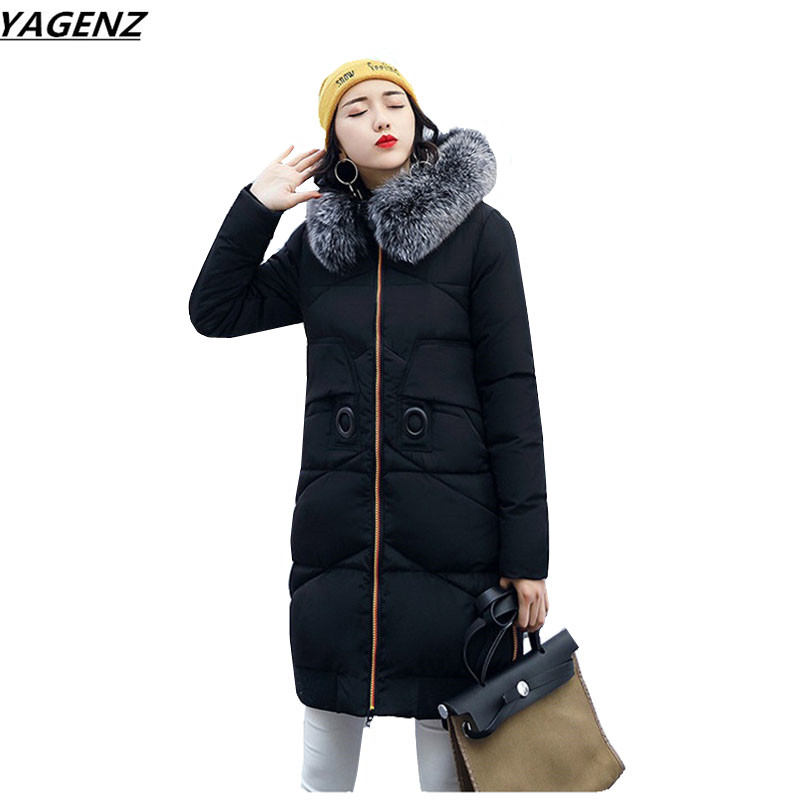 2017 Fashion Winter Jacket Coat Women Long Thicken Down Cotton-padded Hooded Fur Collar Warm Female Outerwear Plus Size YAGENZ 2015 mens down padded coat fashion splice leather patchwork male down coat hooded winter jacket man fur collar plus size xxxxxl