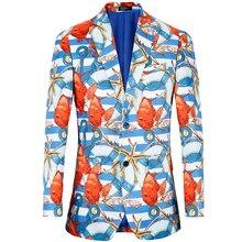 Men Blazer 2019 big size US 38R-48R Fancy sea print suit jacket Stage Costumes Tuxedo Blazers Mens plus Suit Jacket
