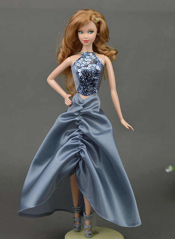 ... Grey Sequin 1 6 Doll Clothes For Barbie Doll Evening Gown Wedding Dress  Party Dresses ... 0950019b8f7b