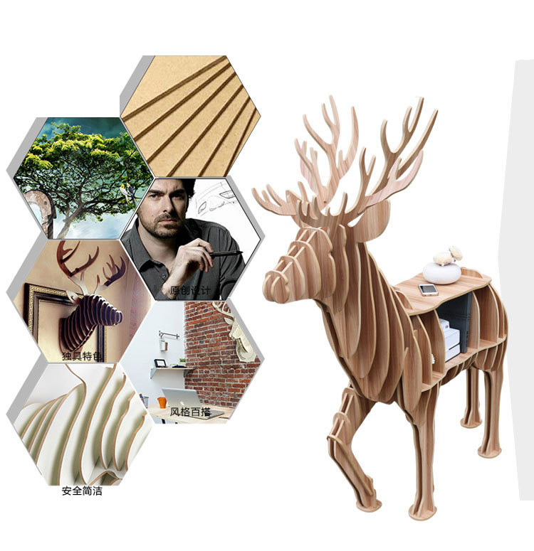 Deer Desk Coffee Table Home Office Furniture Wood Art Craft for Living Room Hotel Bar Decoration Self-built Puzzle 4 Colors factory wholesale european style rhino wood coffee table desk craft gift desk self build puzzle furniture free shipping