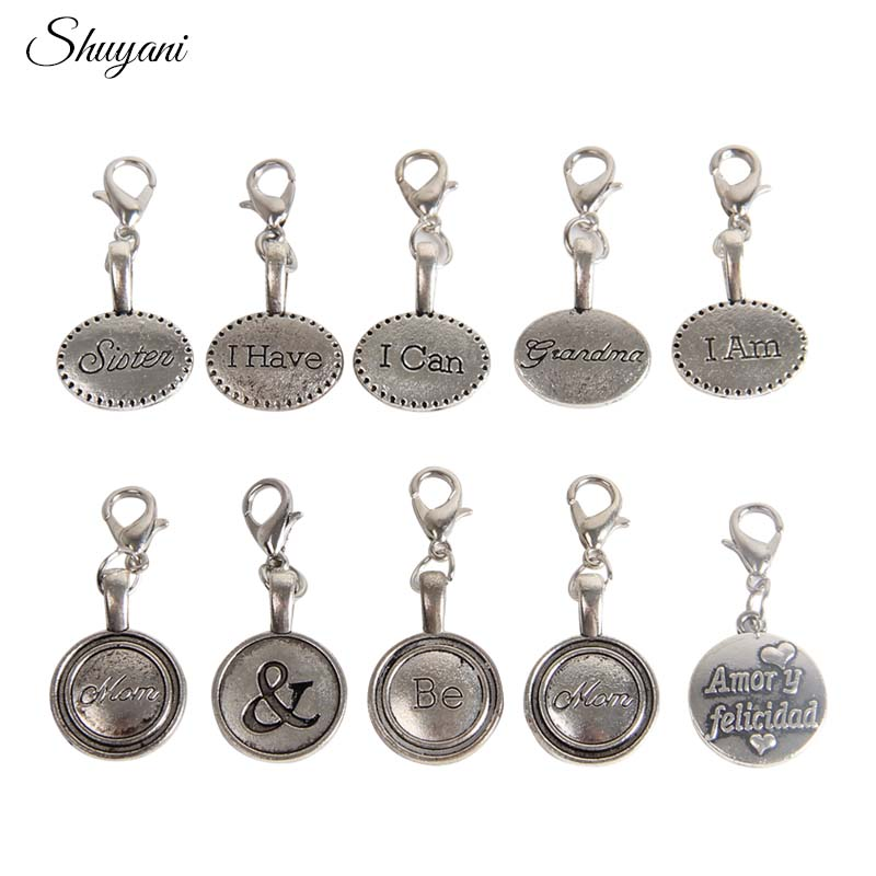 100pcs Assorted Tibetan Silver Letter Floating Charms Metal Alloy Charms Beads Pendant Fashion Jewelry Making Findings DIY Charm jewelry making