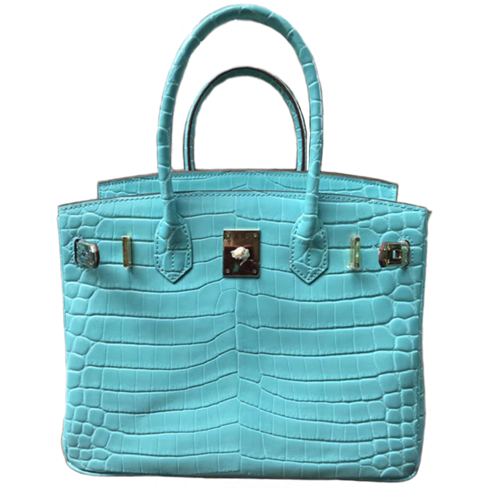 DCM Genuine Leather Top Handle Women Crocodile Leather Pattern Bags