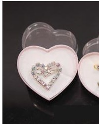 Free Shipping,Wholesale 40pcs/lot Pink Heart Acrylic Transparent Jewelry Ring Display Case Gift Boxes DZ1305