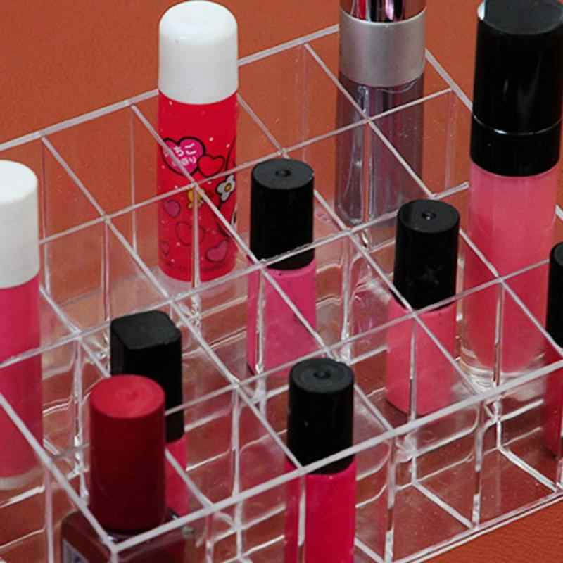 24 Grids Acrylic Makeup Storage Box Organizer Cosmetic Box Display Stand Lipstick Jewelry Box Case Holder Make Up Arrangement
