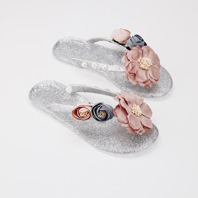 Flor Zapatos Cristal Mujeres Toboganes Jalea Aws061 Joyhopy Zapatillas Inferior Playa Flip Flops Suave Vacaciones Crystal Niñas Moda 7wf7qCxnY