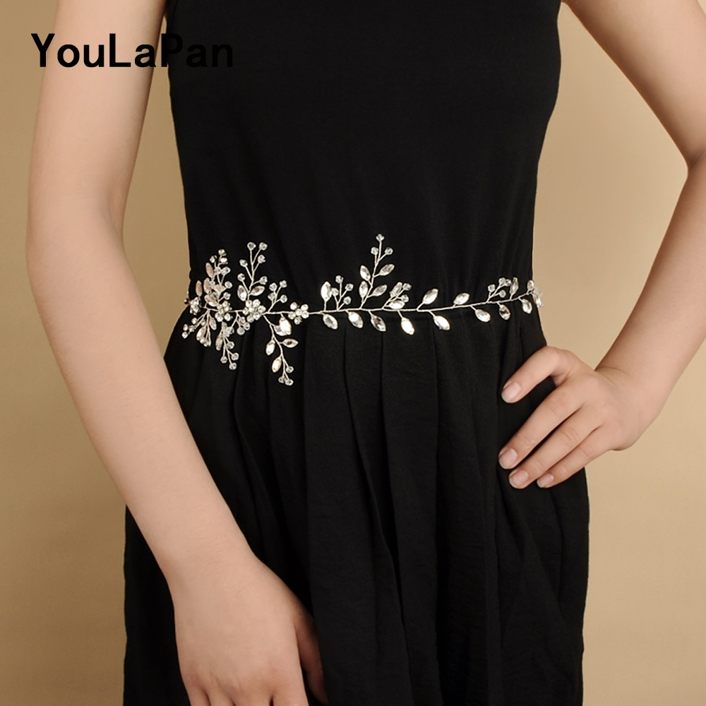 YouLaPan SH65 Wedding Belt Rhinestone Wedding Dress Sash Belt Crystal Wedding Belt Thin Belts Wedding Accessories Bridal Belts