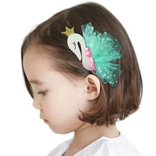 1PC Hair Clips Girls Lace Swan Hair Buckle Hairpin Hairgrip Headdress Pinza de pelo infantil(China)