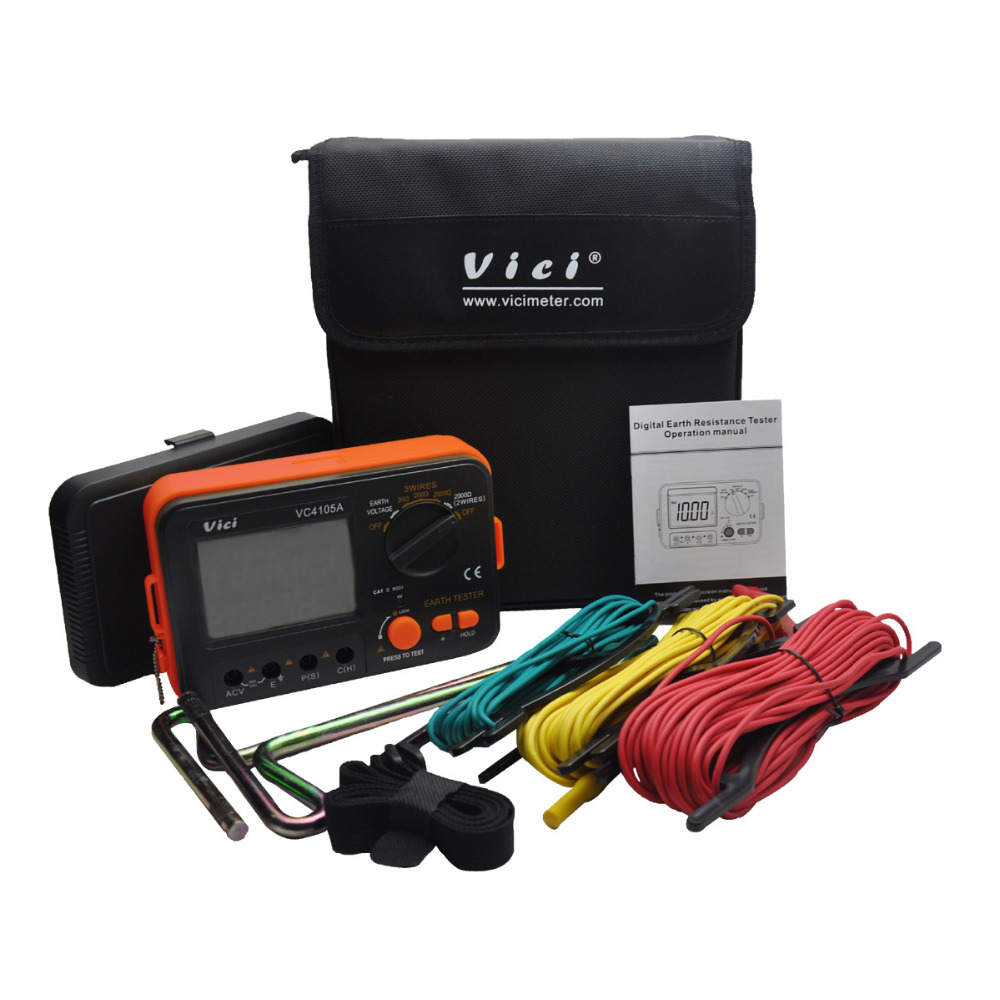 M084 VC4105A LCD Digital multimeter multimetro diagnostic-tool tester Earth Ground Resistance / Voltage Tester Meter ms2108 hyelec digital clamp meter w backlight earth ground unit megohmmeter resistance earth tester multimeter multimetro