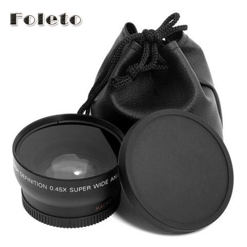 Prix pour 58mm 0.45x Grand Angle et Macro Conversion Lens + Avant Bouchon Arrière pour canon 500d 550d 600d 700d 750d 1000d 1200d 1300d 18-55 lentille