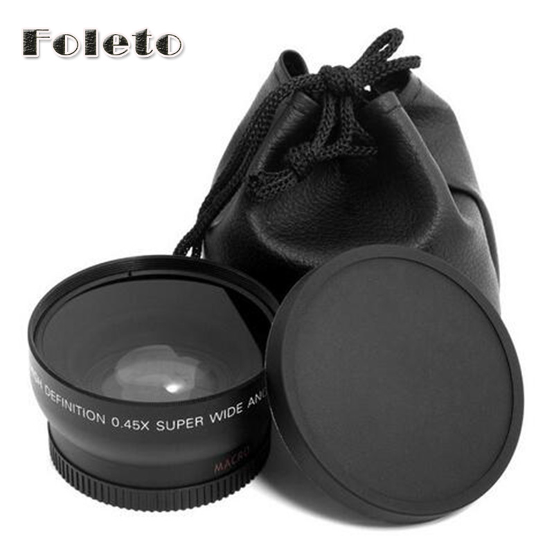 58mm 0.45x Wide Angle & Macro Conversion Lens + Front Rear Cap for canon 500d 550d 600d 700d 750d 1000d 1200d 1300d 18-55 lens 3 in 1 front rear camera fish eye macro wide angle lens for iphone 6 plus black red