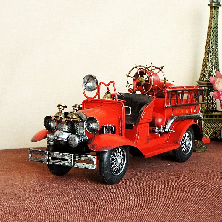 Handmade Retro Iron 1829 fire engine Model Ornaments Vintage Metal fire engine Crafts Home Decor Kids Gift Free Shipping 1868 retro tinplate metal motocross models collection classic handmade arts and crafts dirt bike model