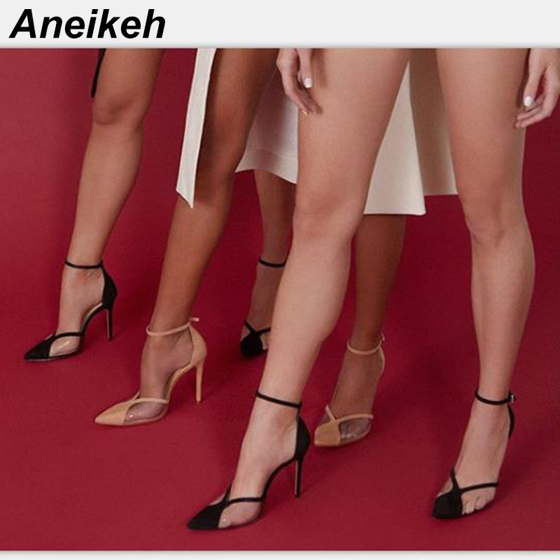Aneikeh 2019 Concise Fashion PVC Woman Transparent Pumps Thin High Heels Shoes Pointed Toe Buckle Strap Pumps Size 35-40