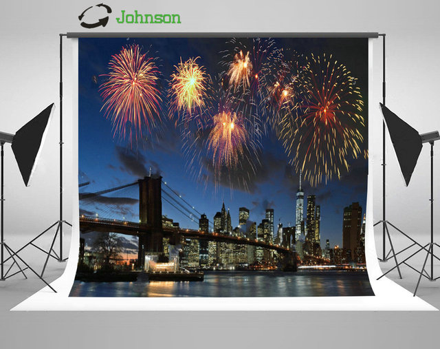 fireworks manhattan bridge river new york city skyline background polyester or vinyl cloth computer print wall