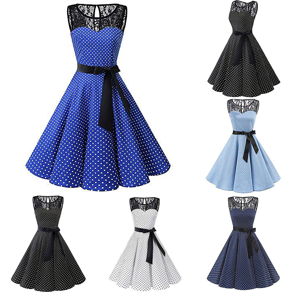HTB1IQjOXvfsK1RjSszgq6yXzpXai Sleeper #401 2018 Women Sleeveless Polka Dot Lace Hepburn Vintage Swing High-Waist Pleated Dress solid design hot Drop Shipping